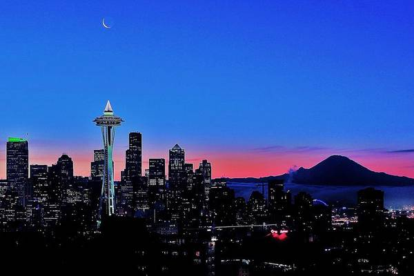 Wall Art - Photograph - Crescent Moon Over Seattle by Benjamin Yeager