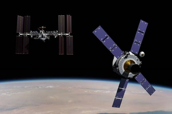 Iss Photograph - Crew Exploration Vehicle And Iss by Nasa/walter Myers/science Photo Library