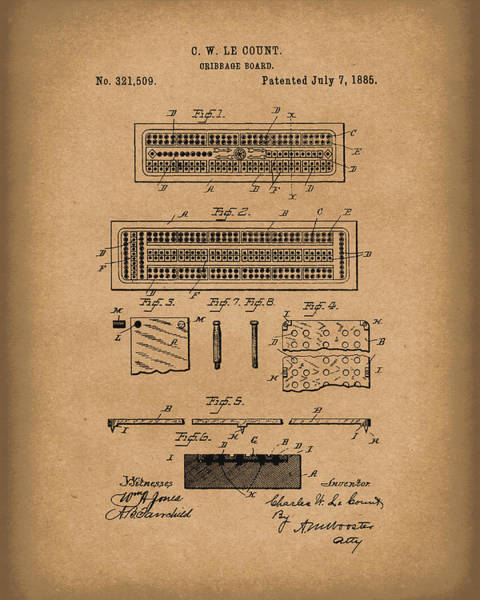 Drawing - Cribbage Board 1885 Patent Art Brown by Prior Art Design