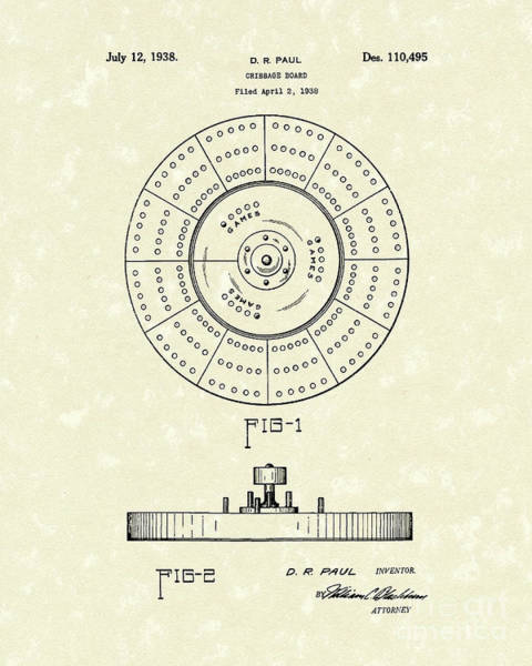 Drawing - Cribbage Board 1938 Patent Art by Prior Art Design