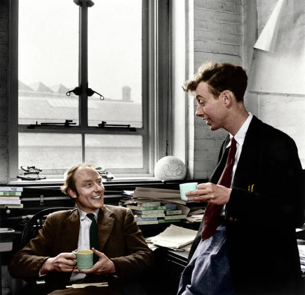 Photograph - Crick & Watson In 1953 by Photograph By A. Barrington Brown, Copyright Gonville And Caius College, Cambridge. Coloured By Science Photo Library