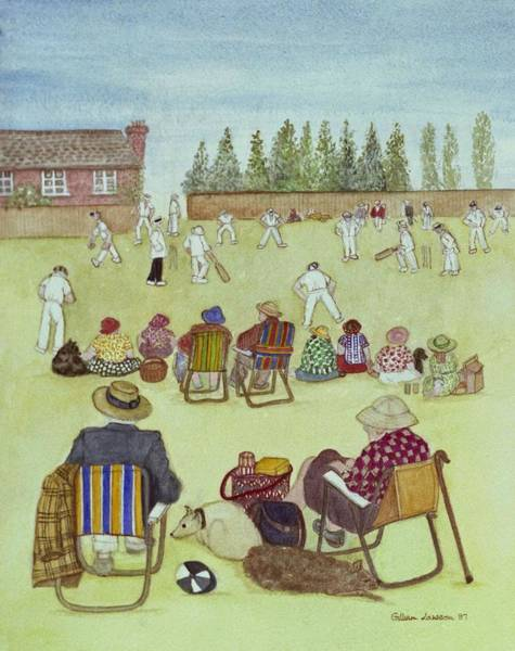 Wall Art - Photograph - Cricket On The Green, 1987 Watercolour On Paper by Gillian Lawson