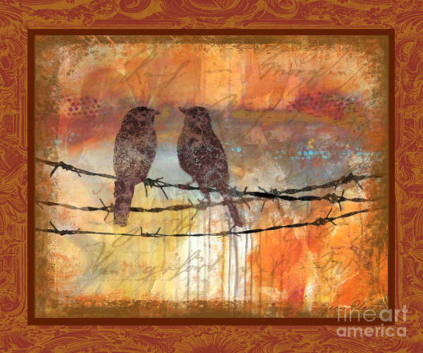 Jeans Mixed Media - Crimson Birds by Jean Plout