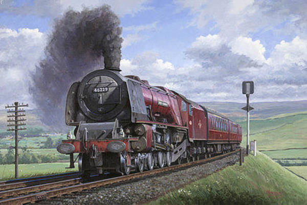Vintage Train Painting - Crimson Lake by Mike Jeffries