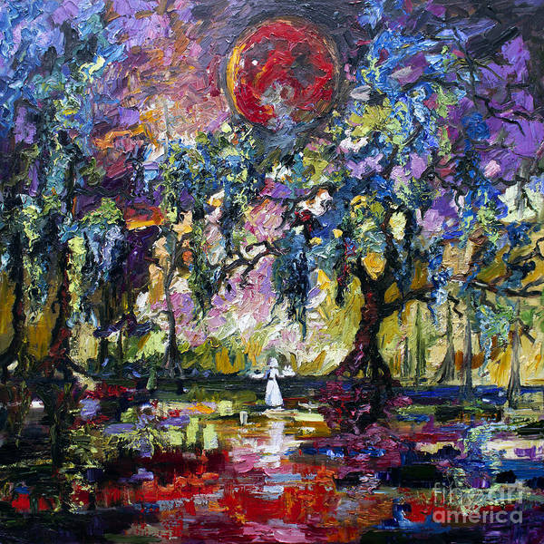 Blood Moon Wall Art - Painting - Crimson Moon Over The Garden Of Good And Evil by Ginette Callaway
