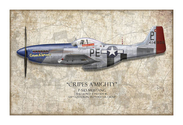 Air War Painting - Cripes A Mighty P-51 Mustang - Map Background by Craig Tinder