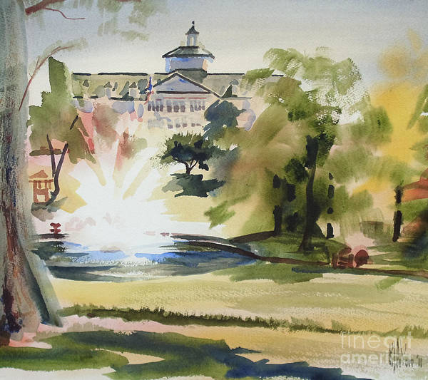 Painting - Crisp Water Fountain At The Baptist Home IIi by Kip DeVore