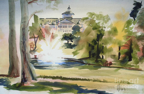 Painting - Crisp Water Fountain At The Baptist Home  by Kip DeVore
