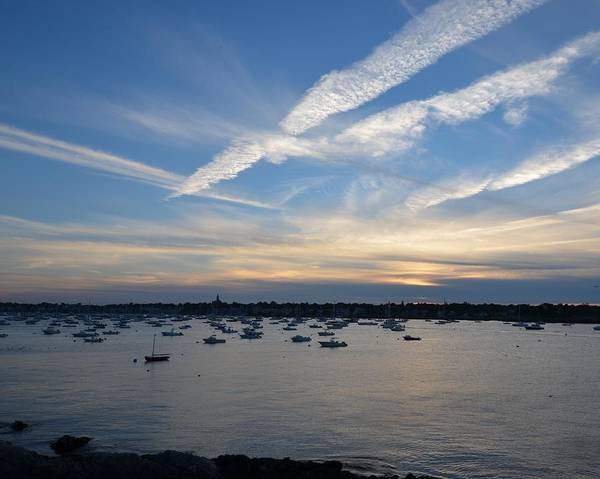 Photograph - Criss Crossed Sky Over Marblehead Harbor by Toby McGuire