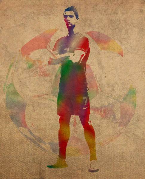 Cristiano Ronaldo Wall Art - Mixed Media - Cristiano Ronaldo Soccer Football Player Portugal Real Madrid Watercolor Painting On Worn Canvas by Design Turnpike
