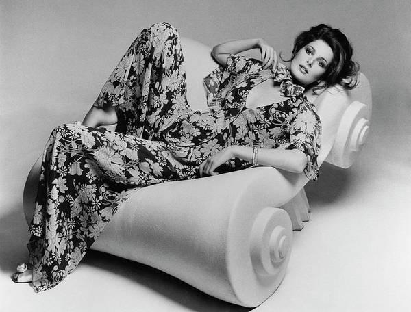 Curve Photograph - Cristina Ferrare Reclining In Chair by Francesco Scavullo