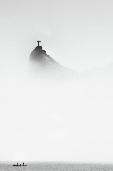 Statue Photograph - Cristo In The Mist by Trevor Cole