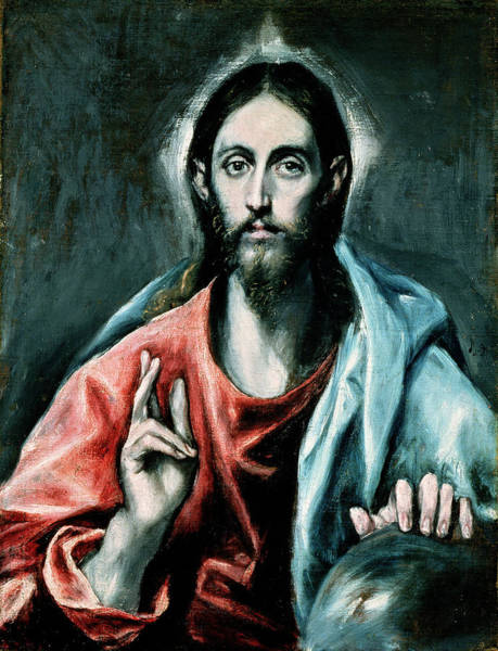 Greek Icon Painting - Cristo Salvator Mundi by El Greco