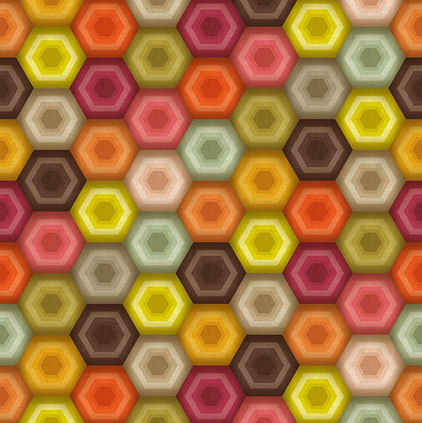 Wall Art - Drawing - Crochet Honeycomb Retro by MGL Meiklejohn Graphics Licensing