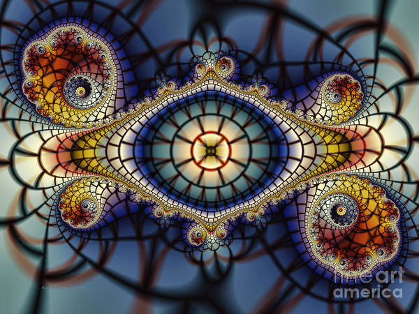Fractal Landscape Digital Art - Crochet Work-geometric Abstraction by Karin Kuhlmann