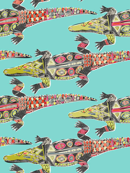 Exotic Drawing - Crocodile Blue by MGL Meiklejohn Graphics Licensing