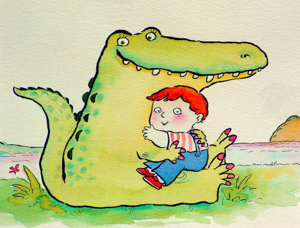 Wall Art - Photograph - Crocodile Hug, Or Best Friends Pen & Ink And Wc On Paper by Maylee Christie