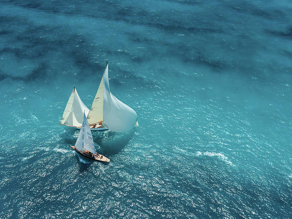 Sail Boat Photograph - Croisement Bleu by Marc Pelissier