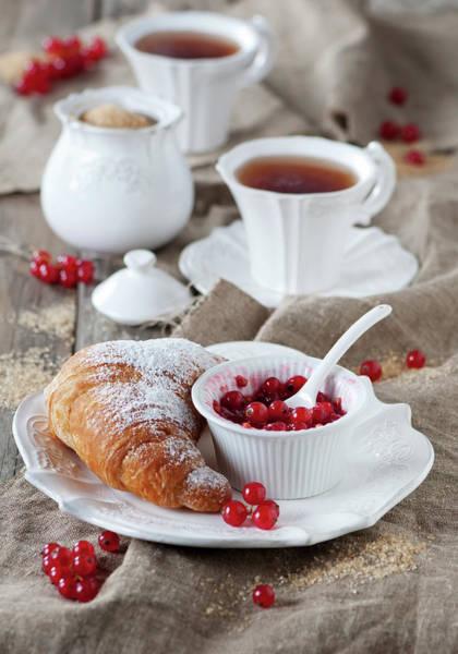 Currants Photograph - Croissant With Jam by Oxana Denezhkina
