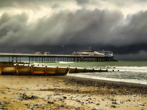 Waterbreak Wall Art - Photograph - Cromer Pier Storm by Avril Harris