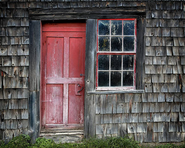 Wood Siding Wall Art - Photograph - Crooked Red Door by John Vose