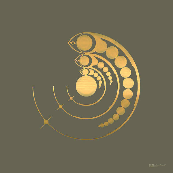 Digital Art - Crop Circle Formation Near Avebury Stone Circle In Wiltshire England In Gold by Serge Averbukh