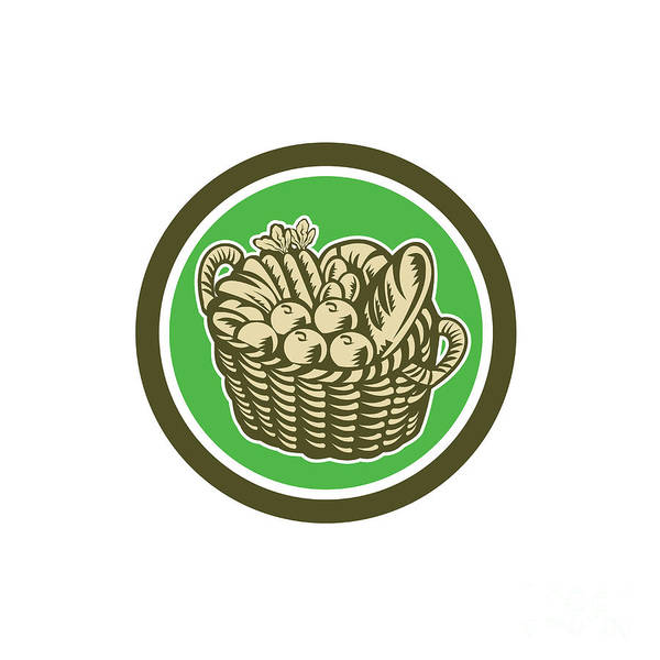 Wicker Basket Digital Art - Crop Harvest Basket Circle Retro by Aloysius Patrimonio