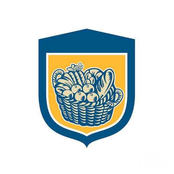 Wicker Basket Digital Art - Crop Harvest Basket Shield Woodcut by Aloysius Patrimonio
