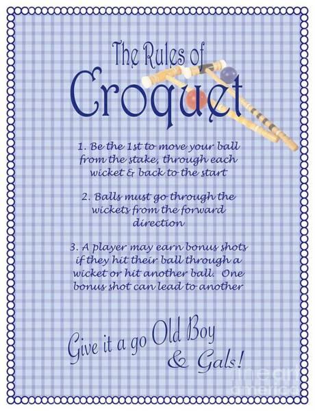 Crochet Digital Art - Croquet Rules  by Nancy Patterson