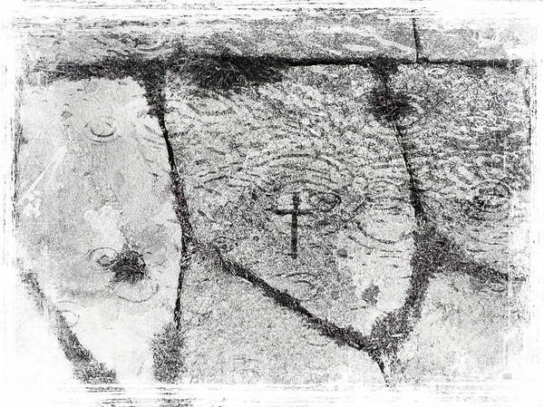 Photograph - Cross Carved In Churchdoor Flagstone In Ireland by Menega Sabidussi
