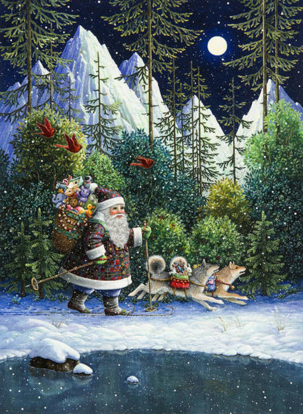 Skiing Painting - Cross-country Santa by Lynn Bywaters