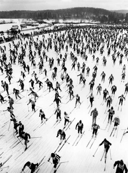 Wall Art - Photograph - Cross Country Ski Race by Underwood Archives