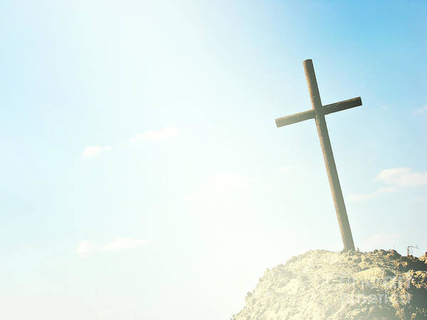 Burried Photograph - Cross by Dan Radi