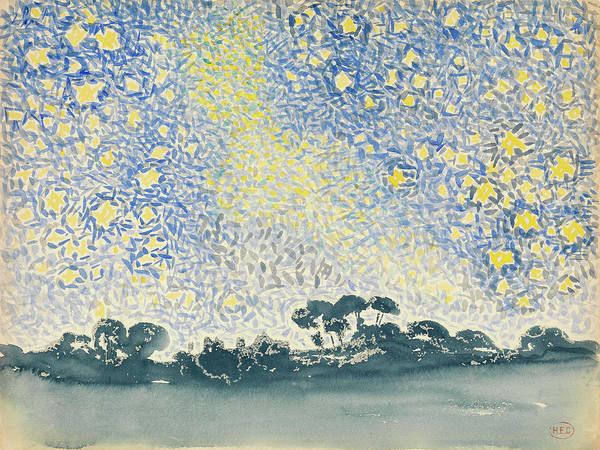 Wall Art - Painting - Cross Landscape With Stars, C1908 by Granger