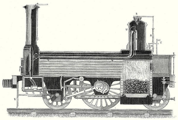 Locomotive Drawing - Cross Section Of A Locomotive Showing How The Steam by English School