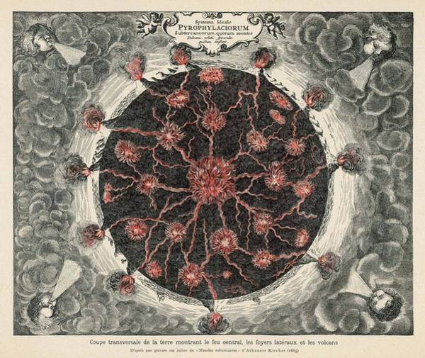 Lava Drawing - Cross-section Of Planet Earth,  Showing by Mary Evans Picture Library