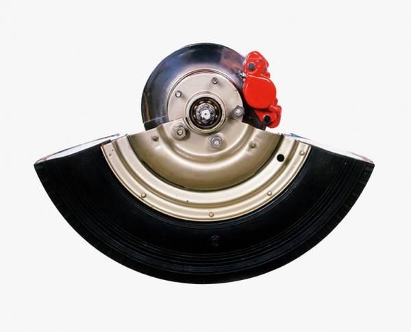 Brake Wall Art - Photograph - Cross-section Of Wheel Showing Disc Brake by Dorling Kindersley/uig