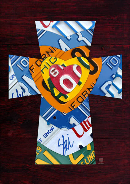 Cross Mixed Media - Cross With Heart Rustic License Plate Art On Dark Red Wood by Design Turnpike
