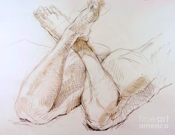 Nipples Drawing - Crossed Feet by Andy Gordon