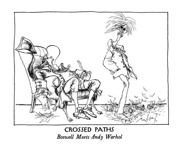 Warhol Drawing - Crossed Paths Boswell Meets Andy Warhol by Ronald Searle