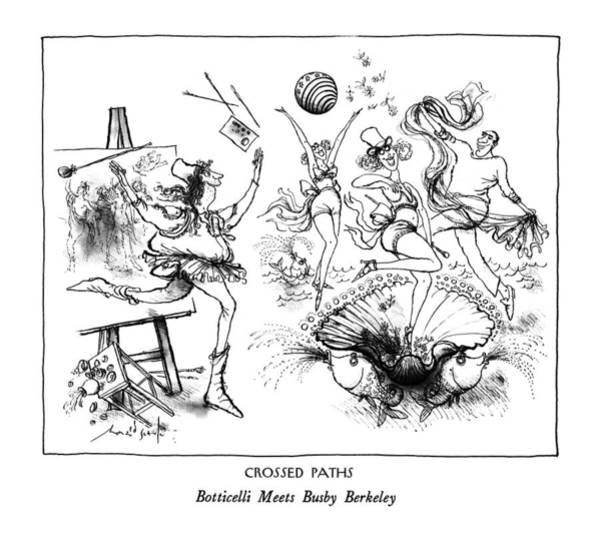 Scarf Drawing - Crossed Paths Botticelli Meets Busby Berkeley by Ronald Searle