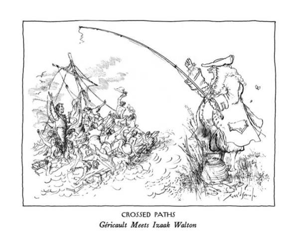 April 6th Drawing - Crossed Paths Gericault Meets Izaak Walton by Ronald Searle