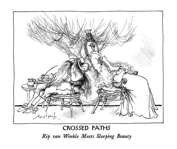 Beauty Drawing - Crossed Paths: Rip Van Winkle Meets Sleeping by Ronald Searle