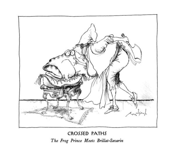Kiss Drawing - Crossed Paths The Frog Prince Meets by Ronald Searle