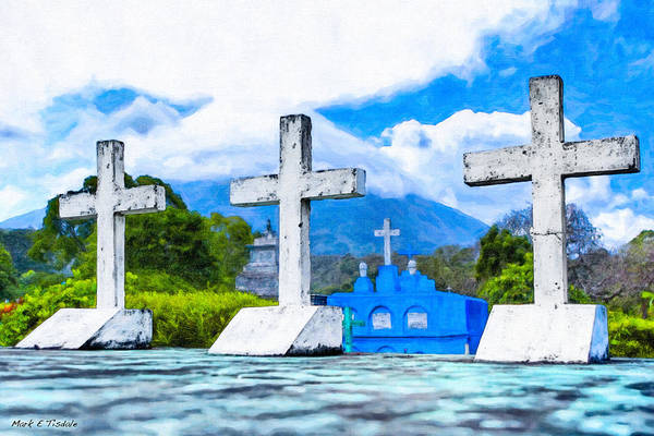 Photograph - Crosses Beneath A Volcano - Nicaragua Landscape by Mark Tisdale