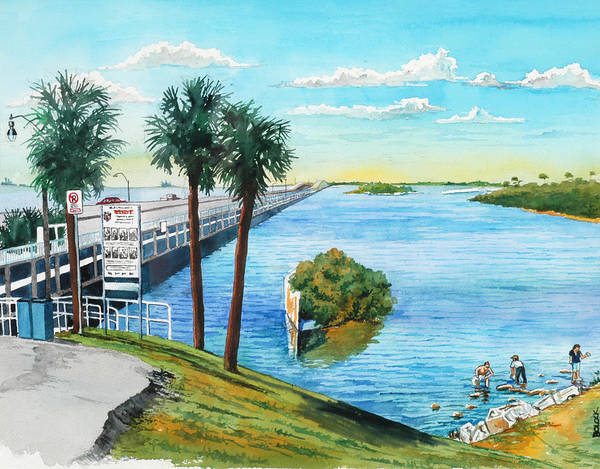 Gandy Wall Art - Painting - crossing Gandy over Tampa bay by Frank Bolock