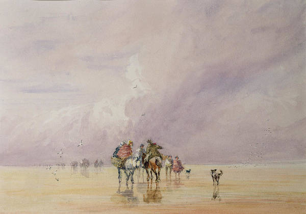 Grey Skies Wall Art - Painting - Crossing Lancaster Sands by David Cox