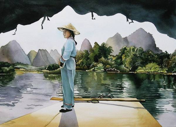 Painting - Crossing Li River by Alfred Ng