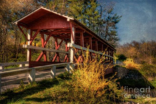 Red Covered Bridge Photograph - Crossing Shawnee Creek by Lois Bryan