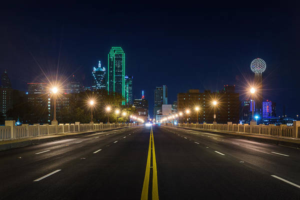 Photograph - Crossing The Bridge To Downtown Dallas At Night by Todd Aaron